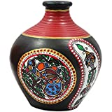 Terracotta Flower Vase With Warli Painting Set Of 1 /Terracotta Warli Handpainted Flower Vase & Pots /Handmade Crafted & Authentic Art Work Size:- 6 X 5 Inch Made By Awarded Tribal Artisans Of India/ Exclusive Terracotta Handpainted Warli Vase Mat