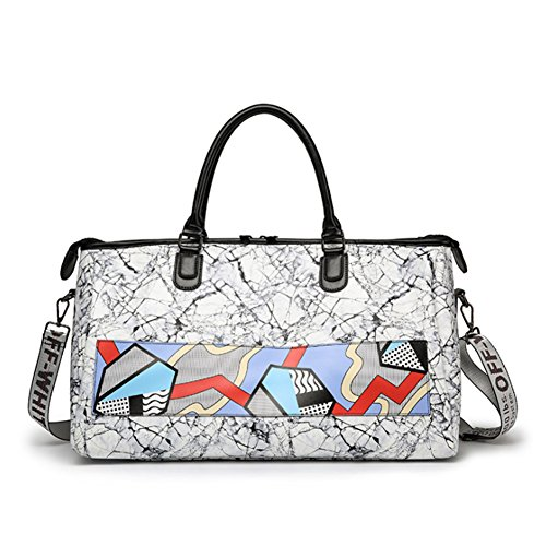 Portable Reisetasche Pu Wasserdicht Druck Nähen Hit Farbe Fitness Tasche Männer und Frauen Trend Diagonal Umhängetasche