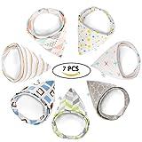 GHB Baby Dreieckstuch Lätzchen Halstuch 7er Pack mit unterschiedlichen Muster Unisex Spucktuch mit Druckknöpfen