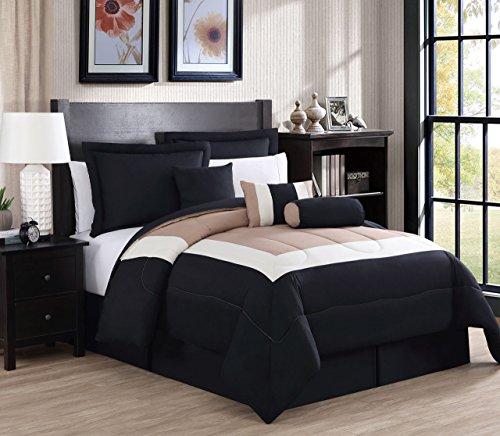 11-teiliges Rosslyn-Schwarz/Blaugrün Bed in a Bag w/600tc Baumwolle-Bettlaken-Set, Polyester, Black/Taupe/Ivory, Queen (Bett In Einem Beutel-ensembles)