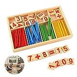 Reastar Montessori Mathematik Spielzeug Buntes Rechenstäbchen Holz Zahlen Mathematik Spielzeug Ausbildung für die frühe Motorik Entwicklung Ausbildung Ihres Kindes