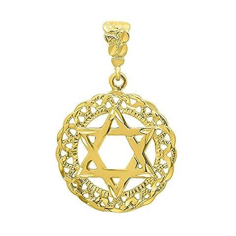 Pendentif rond de 34 mm 14k plaqué or Diamond-Cut Star Of David Medallion + Tissu de nettoyage de bijoux