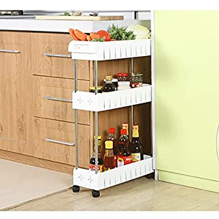 AIYoo Gap Kitchen Slim Slide Out Storage Tower Rack-White 3 Tier Mobile Shelving Unit Organizer with Universal Wheels,Removable Slim Slide Out Pantry Storage Rack for Narrow Spaces Laundry Bathroom