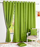 Story@Home Room Darkening Blackout Plain Faux Silk Premium Solid 1 Piece Window Curtain, 5ft, Forest Green