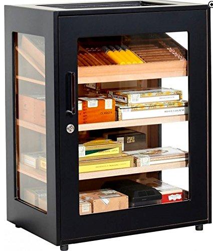 Adorini Humidor Schrank Salina - Deluxe schwarz inkl. elektr. Befeuchter inkl. Lifestyle-Ambiente Tastingbogen