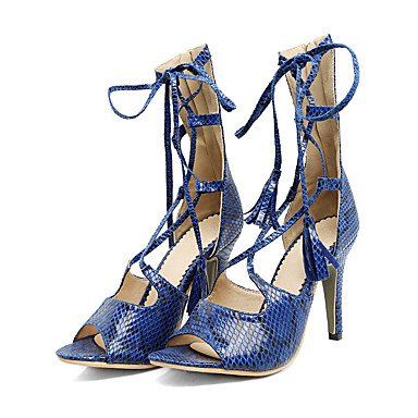 LFNLYX Talons pour femmes Printemps Été Automne Autre similicuir Bureau et tenue de carrière Casual Stiletto Talon Lace-up Bleu Blanc Amande Beige Blue