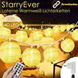 40 LED Lampions Lichterkette Außen Strom - 8 modi 10M Warmweiß Lichterketten Lampion mit Fernbedienung & Stecker, Laterne Fairy Lights Outdoor...