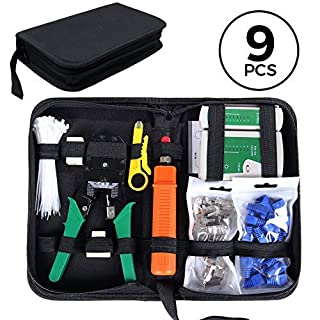 SGILE Pro 9/1 Network Tool Repair Kits - Ethernet Lan Cable Tester Computer Maintenance Coax Crimper Tool for RJ-45/11/12 Cat5/5e with Connector Accessories