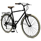Critical Cycles Herren Beaumont 7 Seven Speed Urban City Commuter Bike, Matte Black, 58cm