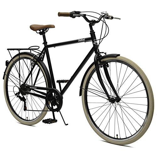 Critical Cycles Herren Beaumont 7 Seven Speed Urban Commuter City Bike, Matte Black, 58cm