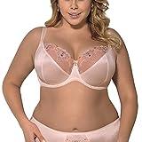 Gorsenia K338 Yasminne Soft BH Dame Dessous Maxi Stickerei geblümt regulierbar Setteil EU, Größe 90J, rosa