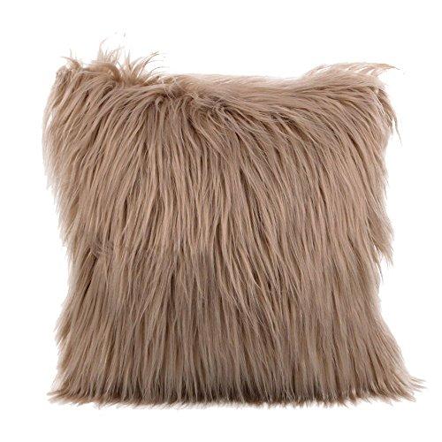 se, kissenhülle Kopfkissenbezug Home Dekoration Kissenbezug 9 Farbe Plüsch Super weich Sofakissen für Wohnzimmer Sofa Bed,45x45cm (Khaki) ()