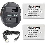 Newmowa LP-E8 Batería de repuesto (2-Pack) y Kit de Cargador Doble para Micro USB portátil para LP-E8 y Canon EOS 550D 600D 650D, Rebel T2i T3i T4i T5i, Kiss X4 X5 X6i X7i