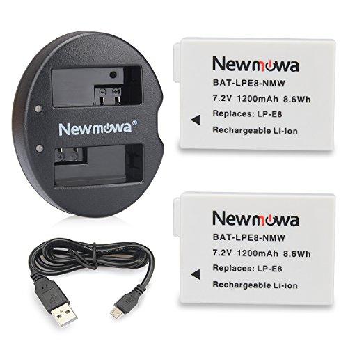 Newmowa Ersatz Akku LP-E8 (2er Pack) und Tragbar Micro USB Ladegerät Kit für Canon LP-E8 und Canon EOS 550D,600D,650D,700D,EOS Rebel T2i T3i T4i T5i (T3i Canon Kit)