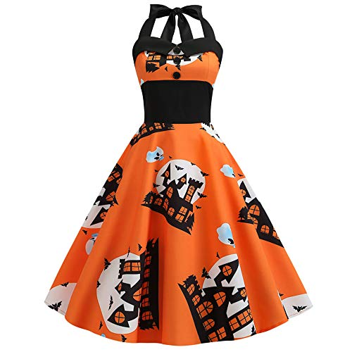 High Katze Monster Kostüm - Damen Halloween Kleider Neckholder Vintage Kürbis Muster ärmellose Mode schlank ausgestattet High Waist Festival Karneval Abend Party Swing Kleid Orange XXL