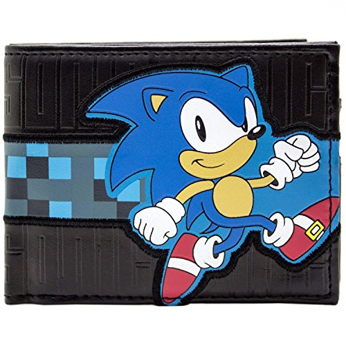 Sega Sonic Checkered Rennen Streifen Blau Portemonnaie (Kostüm Aus Sonic Knuckles)