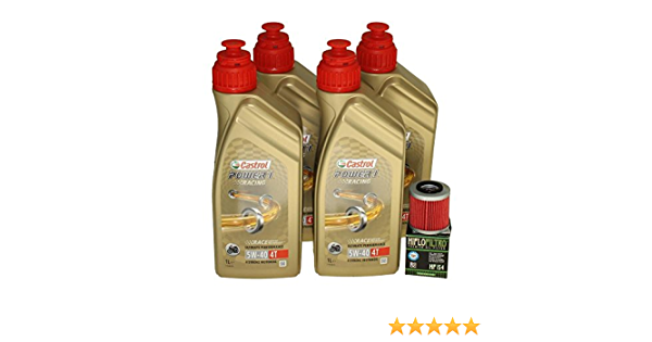Öl Wechselset 4 Liter Castrol Sae 5w 40 Power 1 Racing 4t Inkl Ölfilter Hiflo Hf154 Für Bmw K1200 1300 1600 S 1000 Serien Kawasaki Kx450 K 250 F Auto