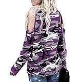 Langarm T Shirt Damen, Mosstars Damen Schulterfrei Bedruckte Tops Camouflage Sexy Shirt O Ausschnitt Pullover Tops