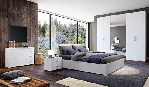 Klipick camera da letto, matrimoniale, completa. armadio a 6 ante (con specchio), comó, coppia di comodini, specchio, letto contenitore matrimoniale (rete inclusa).