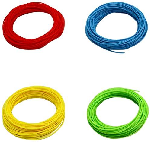 Pack de 4 muestras de filamento flexible y elástico TPU FilaFlex 82A original de Recreus para impresora 3D. 1.75 mm. 200 gr. Sample Pack 2 con 4 colores de 50 gr. Azul, rojo, amarillo y verde