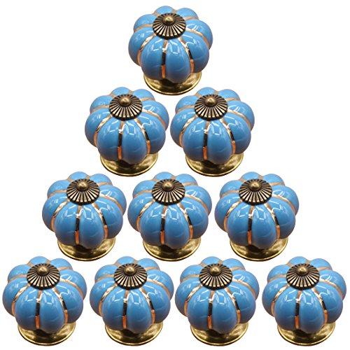 Ossigenatore Shop 10PCS ceramica zucca maniglie Pull cassetto manopole porta Pull-blu - Peter Zucca