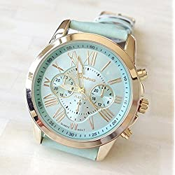 New 2015 Fashion Women's Geneva Watch Analog Quartz Watch for Women Faux Leather Roman Numerals Watch Lucky Gifts