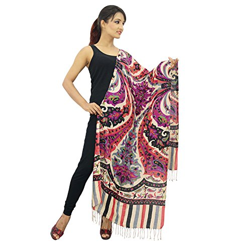 "Multicolore Viscose Longues Femmes Scarf Fashion Wear Tessel Foulard 78 ""X 28"" Beige et noir"