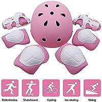 Yacool Juego de rodilleras de protección para niños, casco ajustable, rodilleras, coderas y muñequeras para monopatín, patinaje, ciclismo, rosa