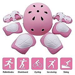 Idea Regalo - Set di Casco Ginocchiere per Bambini, EarthSave Protettore Ginocchio e Casco Guardia Protettivo per Hoverboard,Skateboard BMX e Bicicletta (Gomitiere + Ginocchiere + Protezione Polso + Casco) Rosa