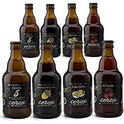 """CEREX- Pack Degustación de 8 Cervezas Artesanas – Cerveza de Castaña, Ibérica de Bellota, Cereza y Pilsen – Mejor Cerveza Artesanal de España Premios """"World Beer Awards 2017"""""""