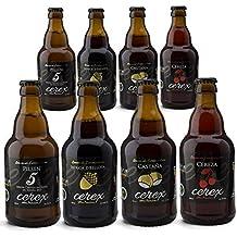 CEREX- Pack Degustación de 8 Cervezas Artesanas - Cerveza de Castaña, Ibérica de Bellota