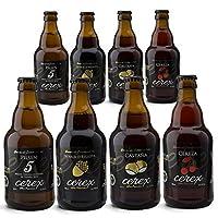 """Exclusif Pack Dégustation avec 8 bières artisanales de l'Espagne. Prix à la meilleure bière artisanale de l'Espagne """"World Beer Awards 2017"""". Le pack contient:Cerex Châtaigne: bière à l'arôme fruité, persistante dans les noix. Dans sa phase olfative,..."""