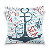 Free-shipping Anchor and Fish Stripe Square Throw Pillow Case Cotton Velvet Cushion Cover 18 x 18