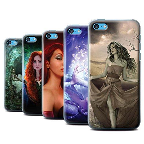 Officiel Elena Dudina Coque / Etui pour Apple iPhone 5C / Cheveux Dorés Design / Caractère Conte Fées Collection Pack 5pcs