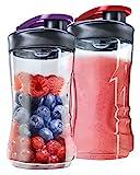 AEG ASBEB2 Mini Mixer Extra-Flaschen , 2 Stück mit je 300ml, für Mini Mixer AEG SB2400, SB2500, SB2700, SB2900, SB4PS, für 600 ml, passt auch für WMF, RussellHobbs, Krups