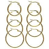 JSDDE Piercing Schmuck,8x Chirurgenstahl Damen-Creolen Huggie Kreolen Ohrstecker Ohrringe 20MM-35MM Ohrschmuck Set(Gold)