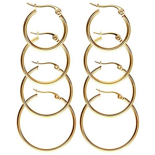 JSDDE Piercing Schmuck,8x Chirurgenstahl Damen-Creolen Huggie Kreolen Ohrstecker Ohrringe 20MM-35MM Ohrschmuck Set(Gold) (Gold Hoop Ohrringe)