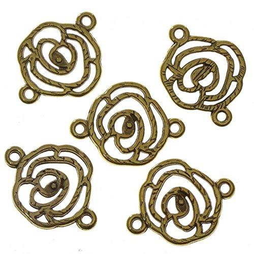 Accessoires création connecteurs Bijoux Fleur Rose (5 pièces) Doré