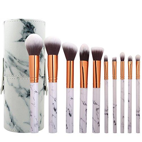 Cdet. 10Pcs Kit De Pinceau Maquillage en Visage avec Manche en Plastique Cosmétiques Brush Ensemble Et Un Seau à Brosse Fondation Mélange Blush Yeux Poudre Brosse Make Up Blanc