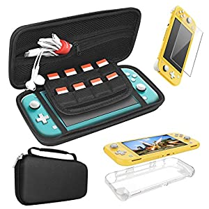 FASTSNAIL 3in1 Zubehör Set für Nintendo Switch Lite, Tasche Tragetasche Carry Case und Hülle Schutzhülle Cover und 9H Panzerglas Schutzfolie Gehärtetes DisplayGlas Schutzfolie für Switch Lite