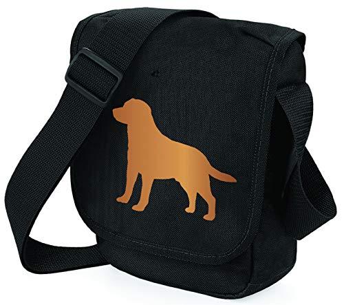 Reportertasche Umhängetasche Labrador Retriever Silhouette Labrador Geschenk Farbwahl, Schwarz - Red Lab Black Bag - Größe: Small/Medium ()