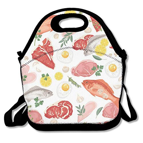 IconSymbol Insulation Lunch Bag Let's Eat, White Fish, Meat EggsSoft Leakproof Waterproof Tote Bag Lunch Box for Work Picnic Study