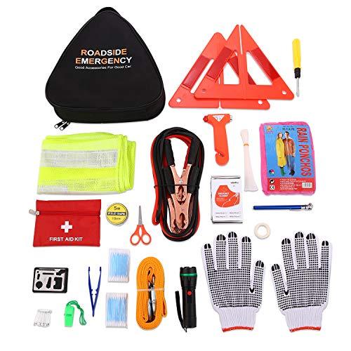 Linhuy 76 in 1 Auto Pannenset KFZ Verbandskasten Kombitasche Werkzeugtasche Notfall-Werkzeugset Pannenhilfe Set Auto Sicherheit Kit mit Warnweste, Erste Hilfe Set und Warndreieck usw. (76 in 1)
