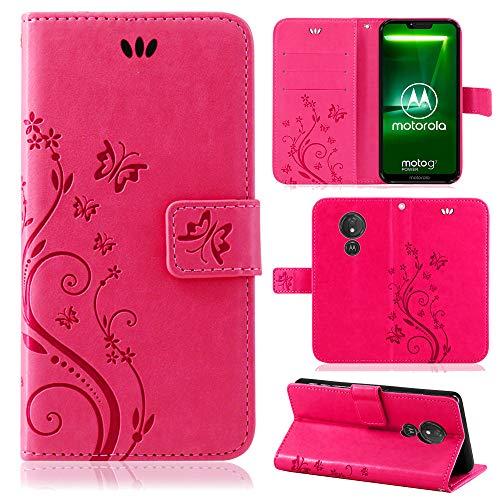 betterfon   Motorola Moto G7 Power Hülle Flower Case Handytasche Schutzhülle Blumen Klapptasche Handyhülle Handy Schale für Motorola Moto G7 Power Pink