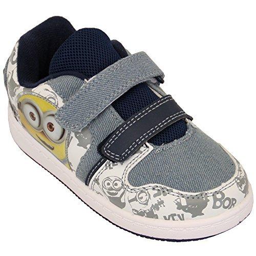 Despicable Me Baskets Garçon Minion Star Wars Chaussures À Velcro Enfants Bello Pompes Neuves - Blanc/Jeans - Weddell, UK 9/EU 27 - Toddlers