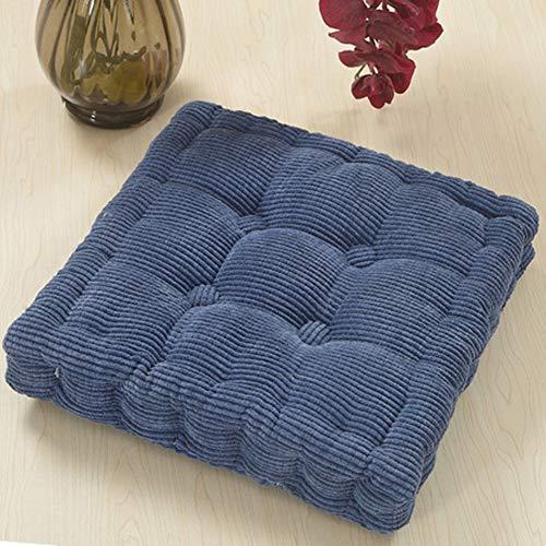 Y&H Quadratische Tatami Stuhl-Pads,verdicken Sie Boden-Kissen Gemütlich Sitzkissen Futon Sofakissen Für Indoor Outdoor Office Stuhl-Denim Blue 48x48cm(19x19inch) -