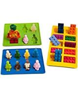 Joyoldelf Silicone Silly Candy Molds & Ice Cube Trays for Building Bricks and Figures Lovers