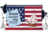 JoneAJ Glücklicher Columbus-Tageshintergrund 9X6FT Vinyl-Ozean-Segelboot-Segeln-Kulissen Amerikanische Flagge Stars and Stripes New Lands Fotografie-Hintergrund Erinnerungs-Columbus-Partei-Studio
