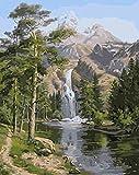 Dipingere con i numeri per adulti e bambini, con paesaggio a cascata, 40,6 x 50,8 cm