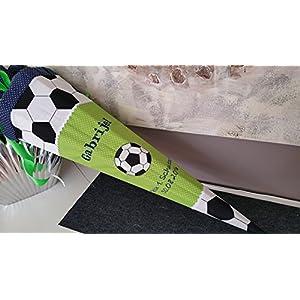 #118 Fussball grün Schultüte Stoff + Papprohling + als Kissen verwendbar